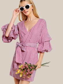 Puffed Sleeve Striped Dress BURGUNDY