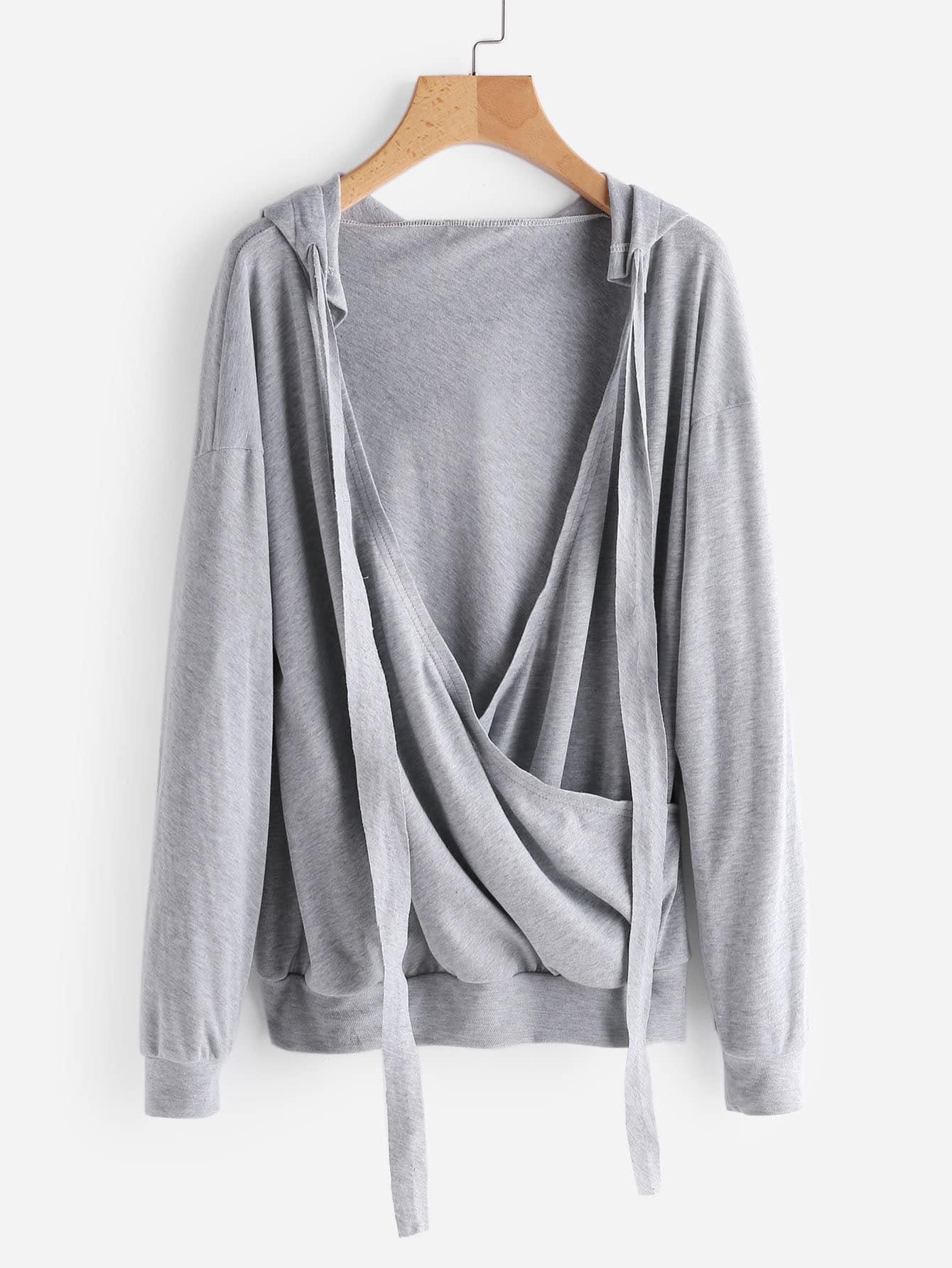 Drop Shoulder Surplice Marled Hoodie drop shoulder marled sweatshirt dress with corset belt