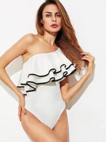 Contrast Tipping Flounce One Shoulder Bodysuit