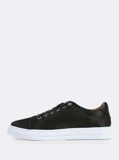 Lace Up Satin Sneakers BLACK