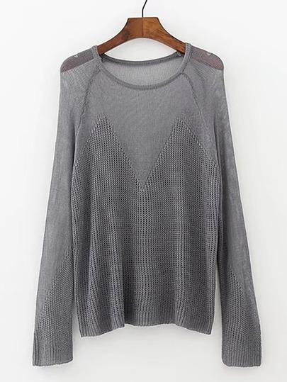 Sheer Contrast Loose Knitwear