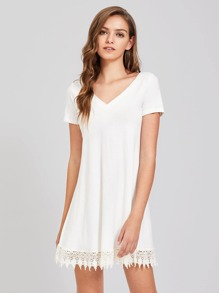 Strappy Back Lace Trim Slub Tee Dress