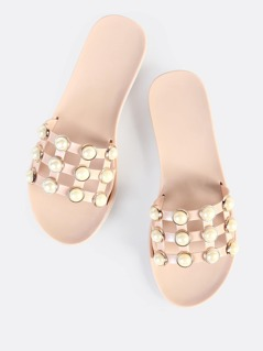 Studded Pearl Jelly Slides NUDE