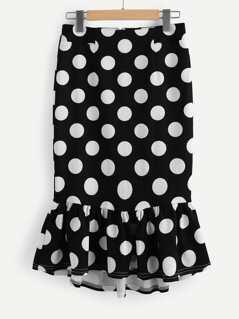 Frill Hem Polka Dot Skirt