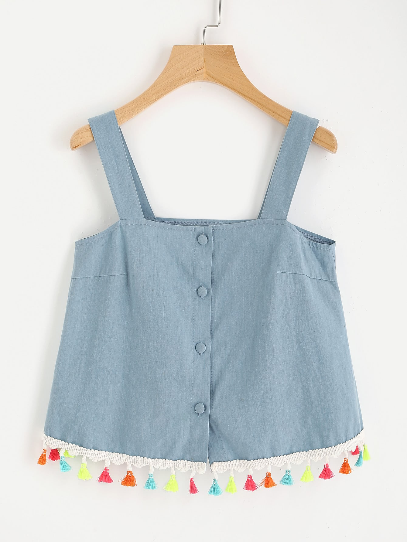 Фото Colorful Tassel Trim Chambray Pinafore Top. Купить с доставкой