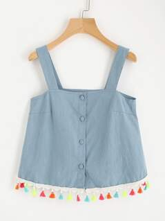 Colorful Tassel Trim Chambray Pinafore Top