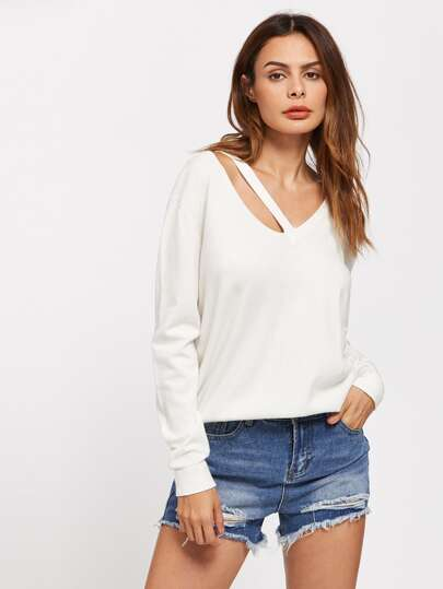 Strappy V Neck Jumper