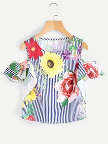 Random Florals Open Shoulder Frill Sleeve Striped Top