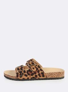 Double Buckle Leopard Sandals LEOPARD