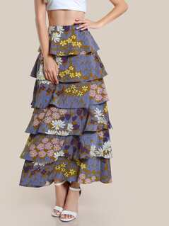 Floral Print Layered Maxi Skirt GREEN