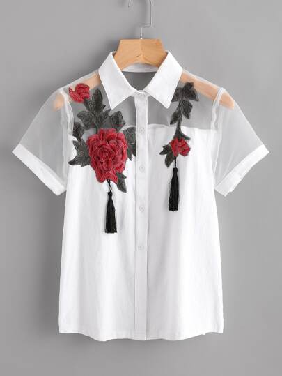 Mesh Panel Embroidered Applique Shirt