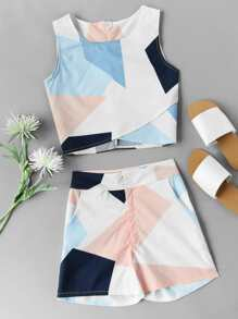 Abstract Geo Print Overlap Tank Top With Shorts