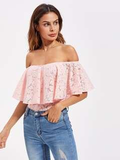 Frill Off Shoulder Floral Lace Bodysuit
