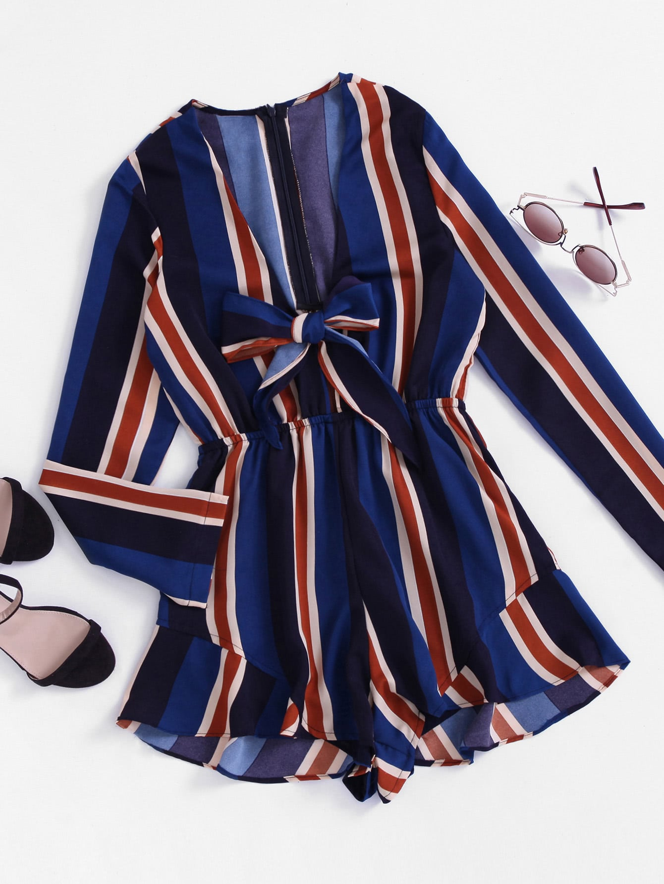 Plunging V-neckline Striped Bow Tie Front Frill Romper tie front ruffle hem striped romper