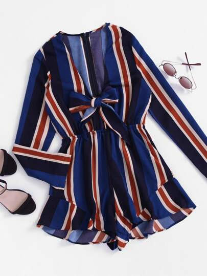 Plunging V-neckline Striped Bow Tie Front Frill Romper
