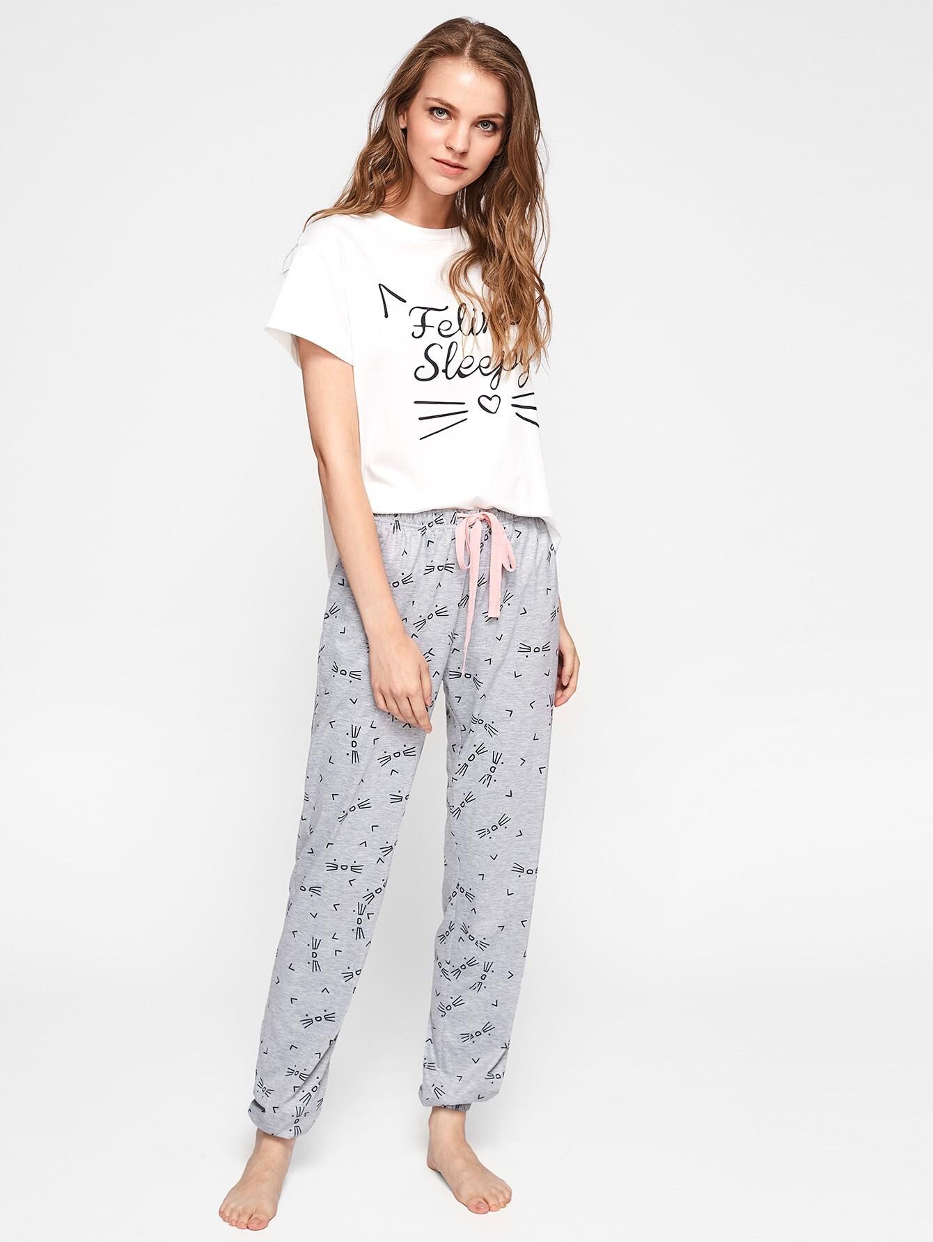 Cat Pattern Print Top And Pants Pajama Set flamingo and jungle leaf print top and pants pajama set