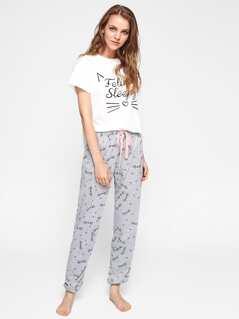 Cat Pattern Print Top And Pants Pajama Set
