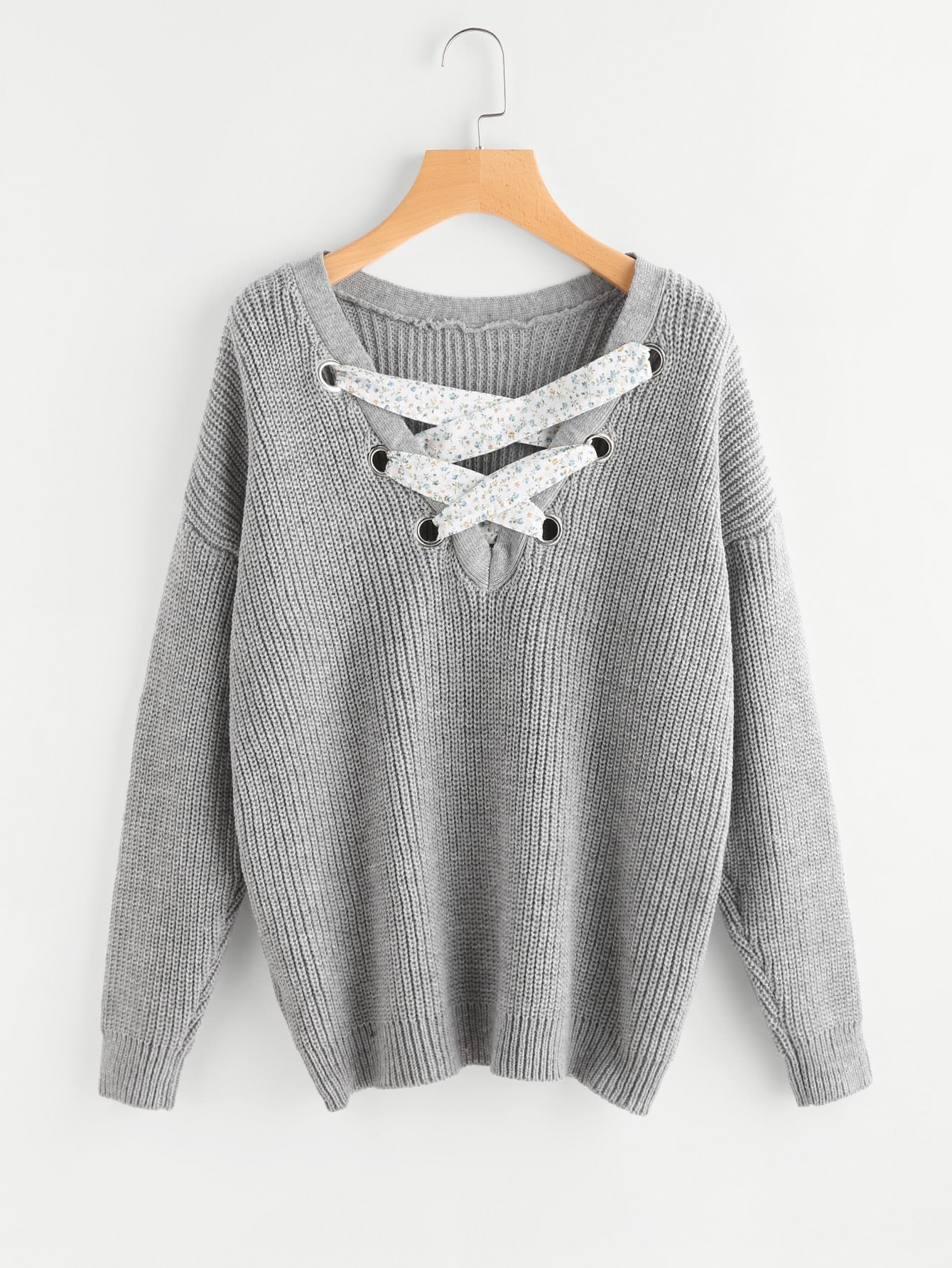 Eyelet Lace Up Front Jumper