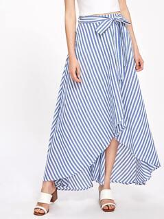 Self Tie Overlap Striped Skirt