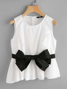 Contrast Bow Front Asymmetric Shell Top