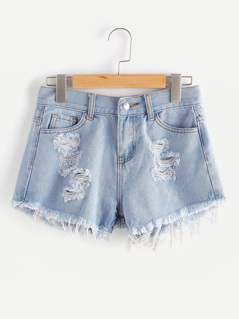 Faded Wash Distressed Denim Shorts