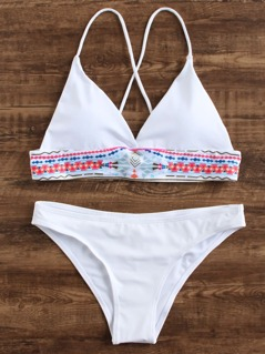 Geometric Print Triangle Bikini Set