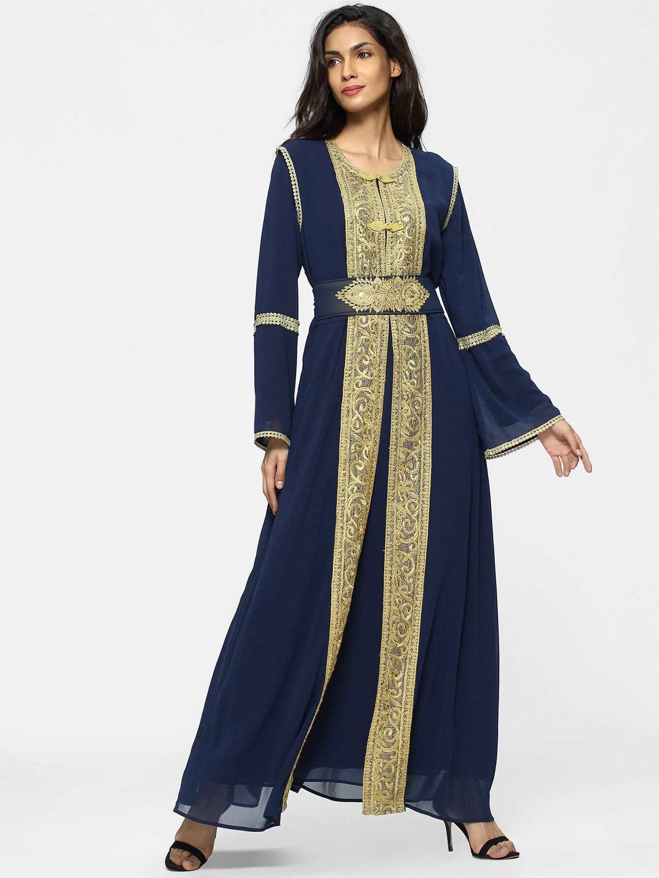 Image of Contrast Crochet Embroidered Tape Detail Chiffon Dress With Abaya