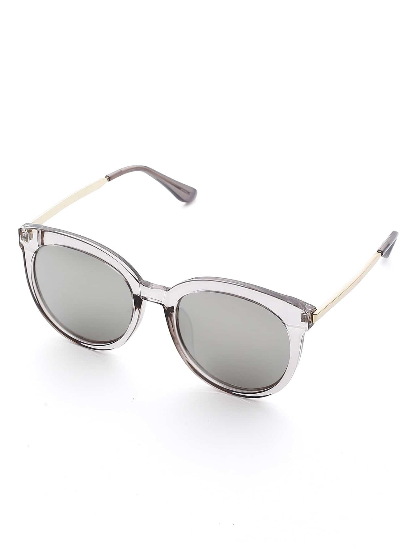lunettes de soleil lentille ronde cadre clair french romwe. Black Bedroom Furniture Sets. Home Design Ideas