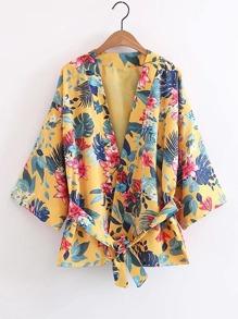 Open Front Floral Print Kimono With Self Tie