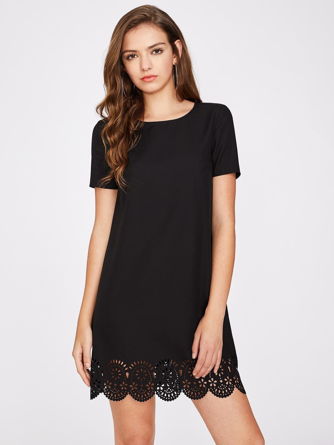 Laser Cut Scallop Hem Textured Dress batwing sleeve pocket side curved hem textured dress
