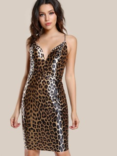 Elastic Strap Bodycon Dress LEOPARD