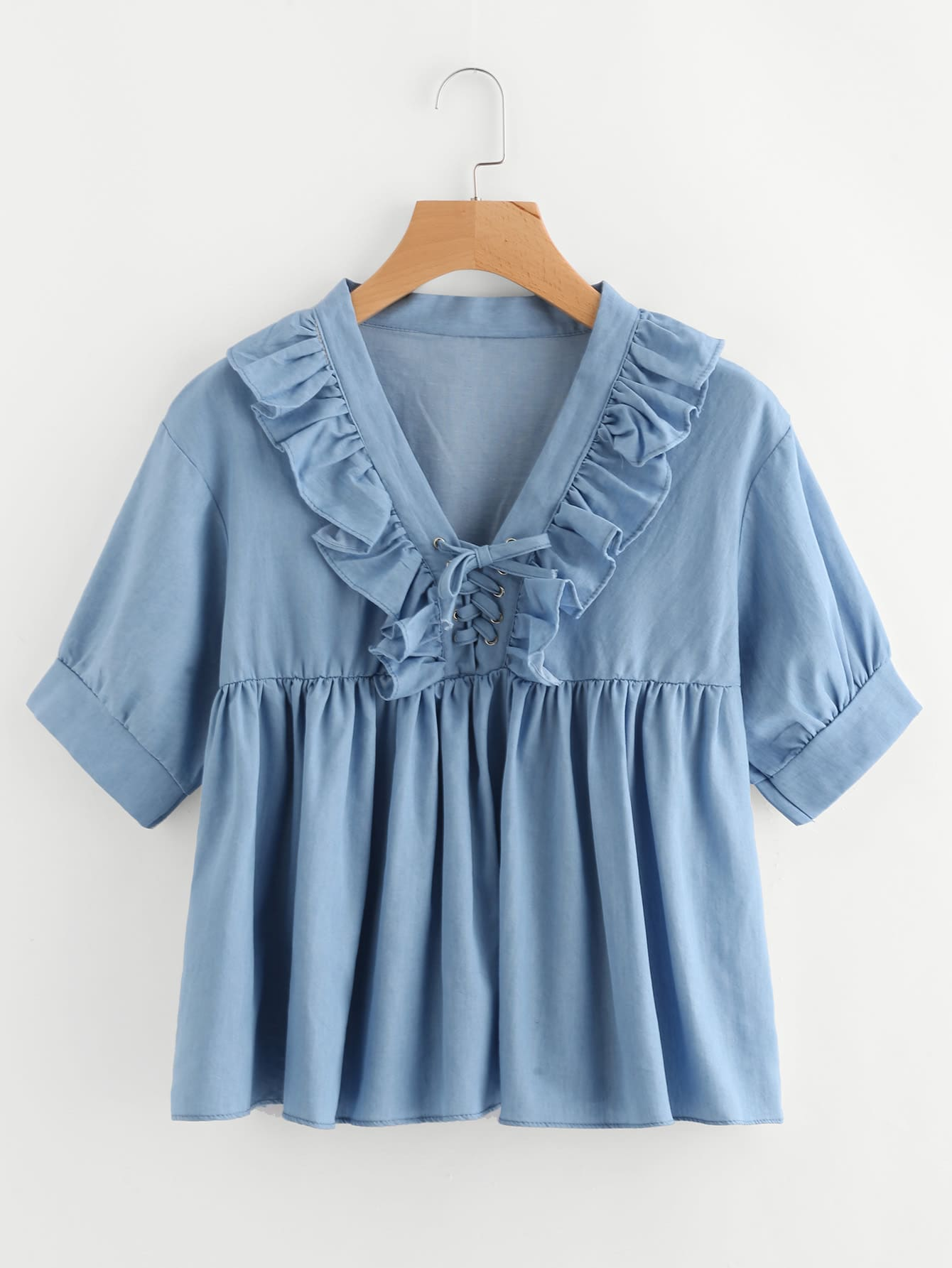Фото V-neckline Lace Up Frill Trim Chambray Blouse. Купить с доставкой