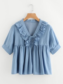 V-neckline Lace Up Frill Trim Chambray Blouse