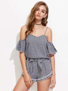 Bell Sleeve Gingham Top And Bow Waist Shorts Set