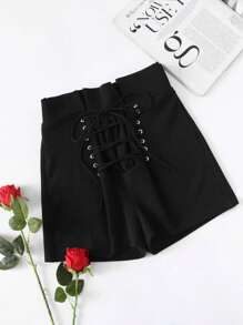 Pleated Ruffle Waist Grommet Lace Up Shorts