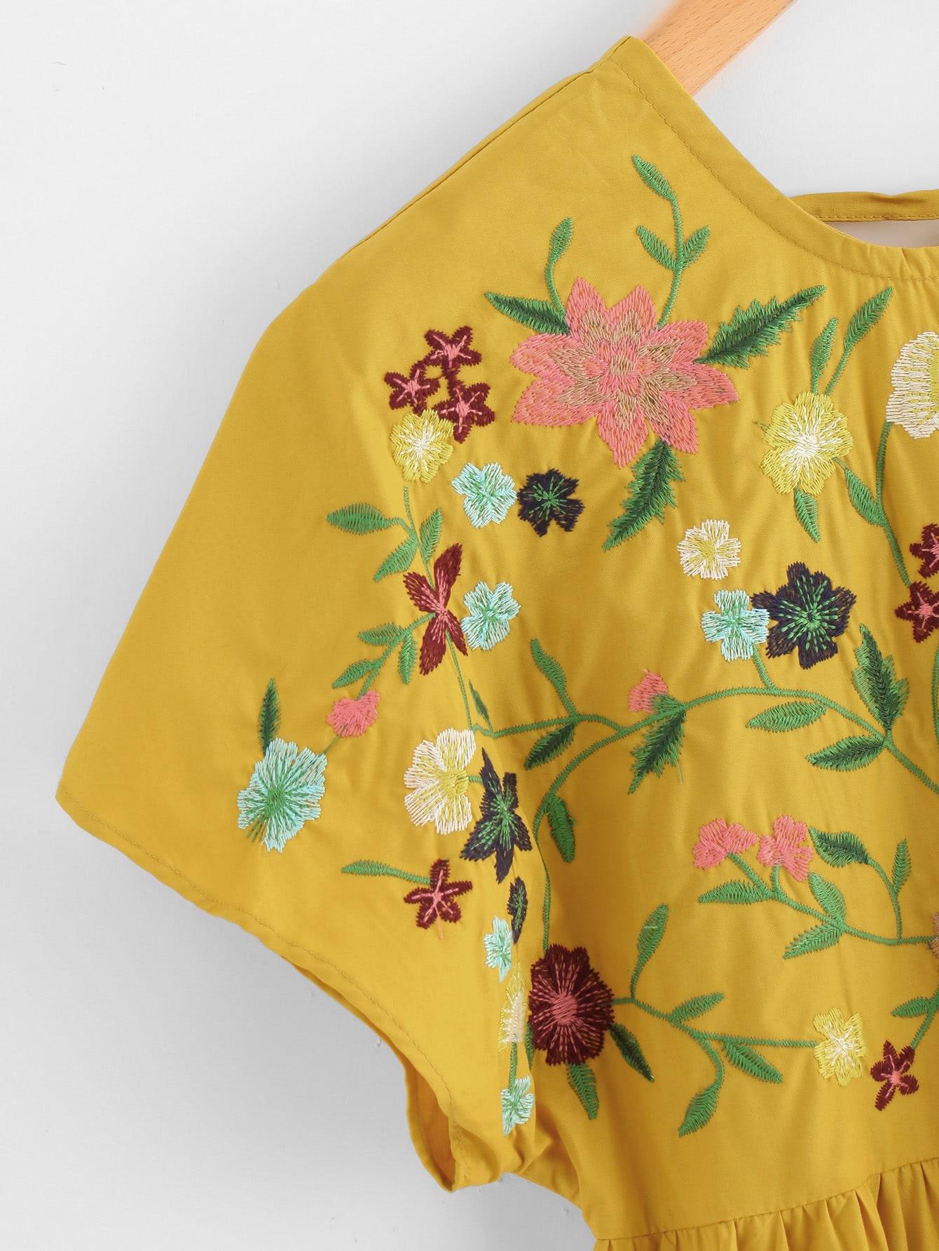 Flower embroidered tie up v back smock dress shein sheinside