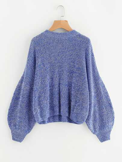 Marled Knit Bishop Sleeve Jumper
