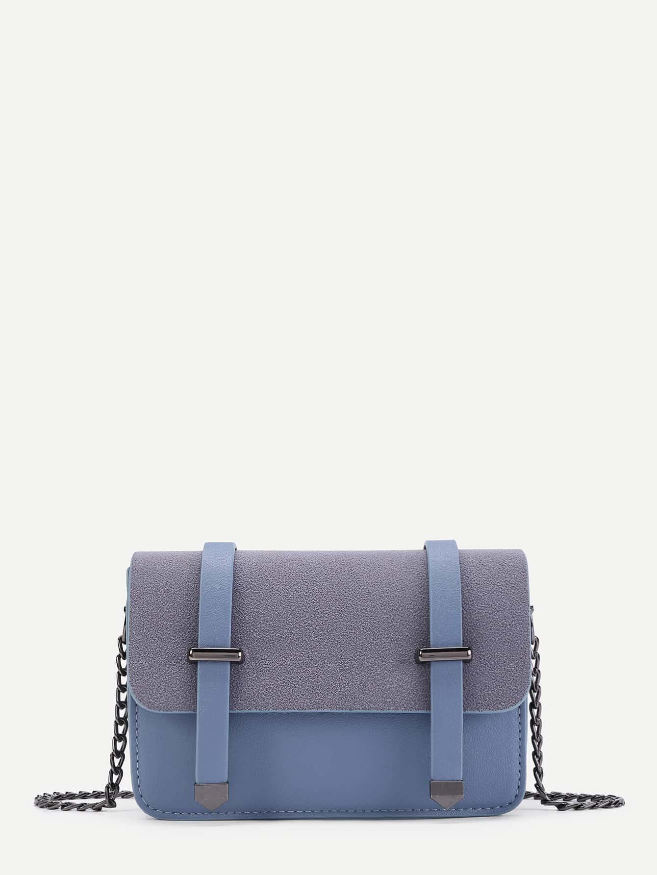 Double Belt Front PU Chain Crossbody Bag