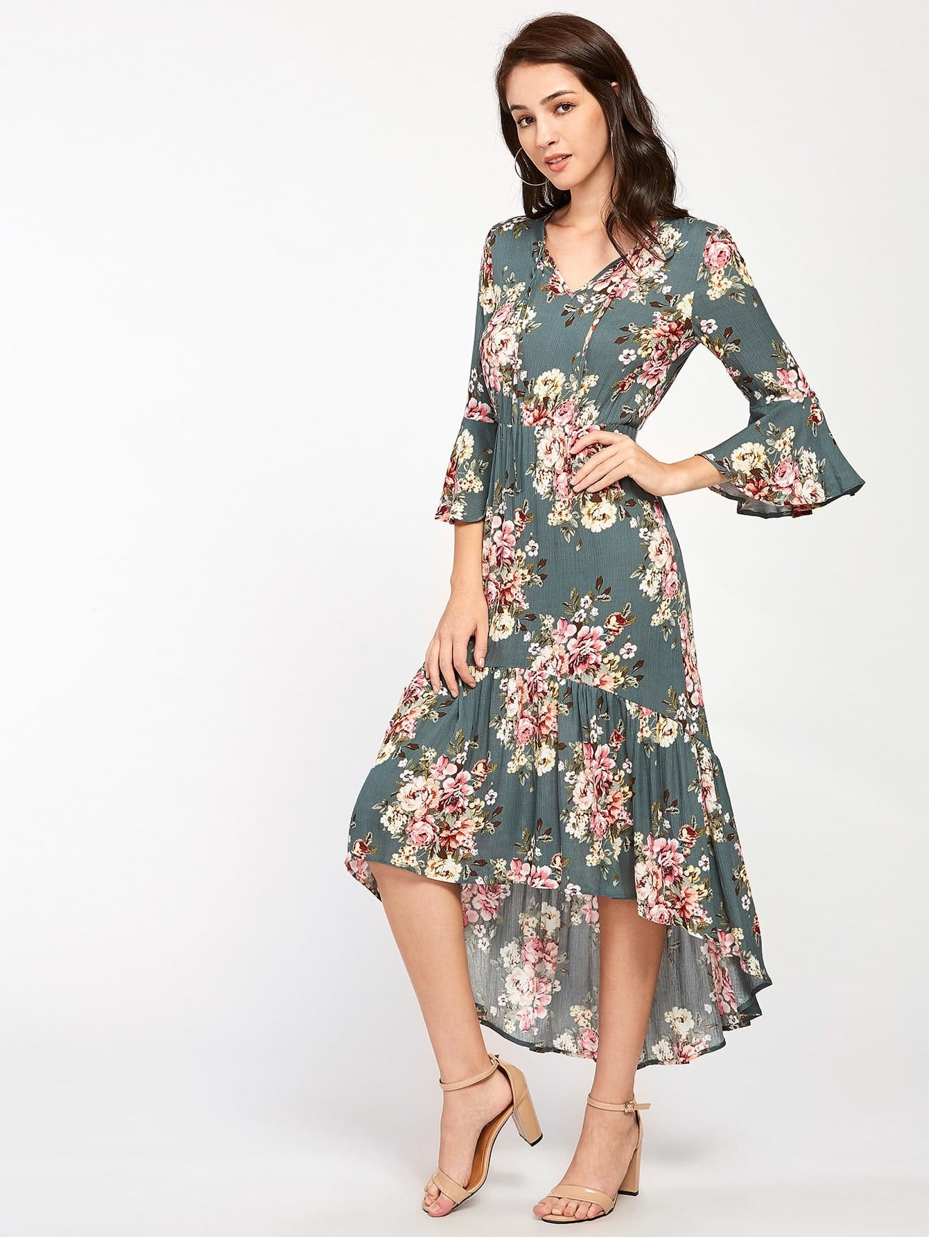 Tie Neck Bell Sleeve Flounce Dip Hem Dress petal sleeve wrap dip hem dress