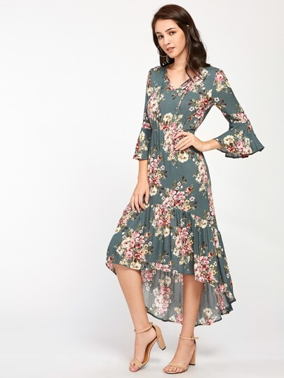 Tie Neck Bell Sleeve Frilled Dip Hem Dress