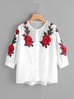 Crochet Yoke 3D Rose Patch Blouse