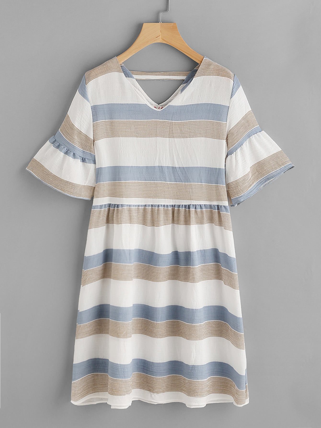 Contrast Striped Double V Fluted Sleeve Dress