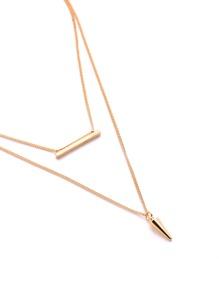 Bar Pendant Double Layer Chain Necklace