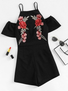 Embroidered Flower Applique Ruffle Sleeve Romper