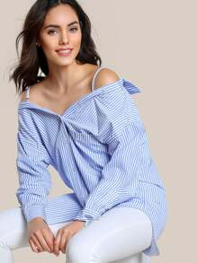 Off Shoulder Long Sleeve Button Up Top NAVY WHITE