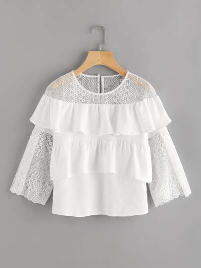Embroidered Mesh Shoulder And Fluted Sleeve Flounce Top