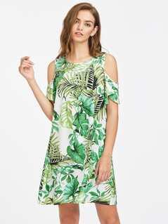 Open Shoulder Flutter Sleeve Tropical Dress