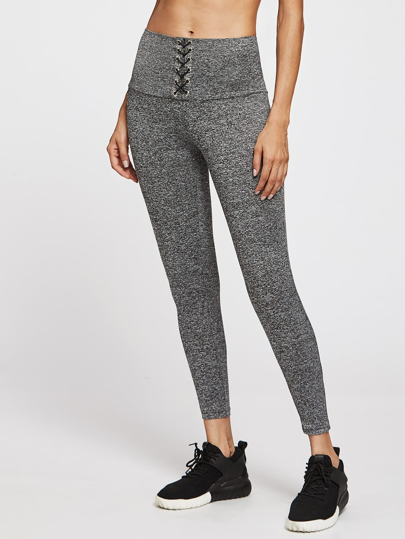 Lace Up Wide Waistband Marled Leggings knit wide waistband leggings