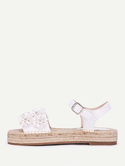 Flower Decorated Woven Platform Sandals