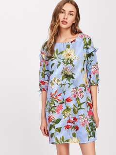 Flower And Stripe Print Frilled Split Sleeve Dress